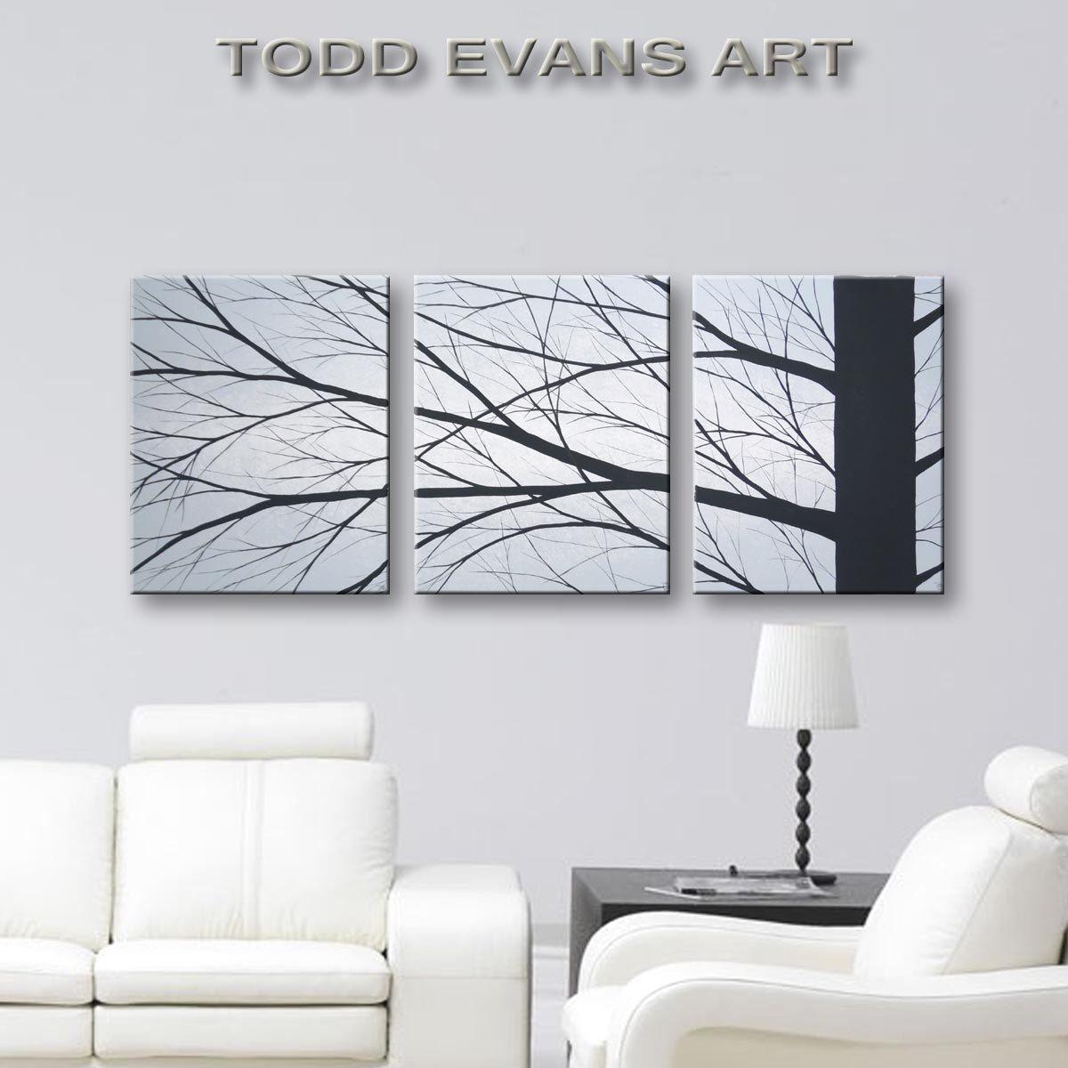 3 piece canvas art minimalist painting bedroom wall decor large wall art original painting on canvas art living room decor tree art 48x20 de toddevansart en