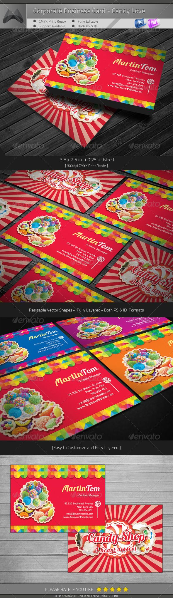 Sweet candy love business card business cards corporate business sweet candy love business card graphicriver corporate business card sweet candy love includes 3525 in 025in bleed 300dpi cmyk print ready reheart Image collections