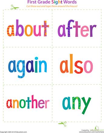 sight words for kindergarten flashcards