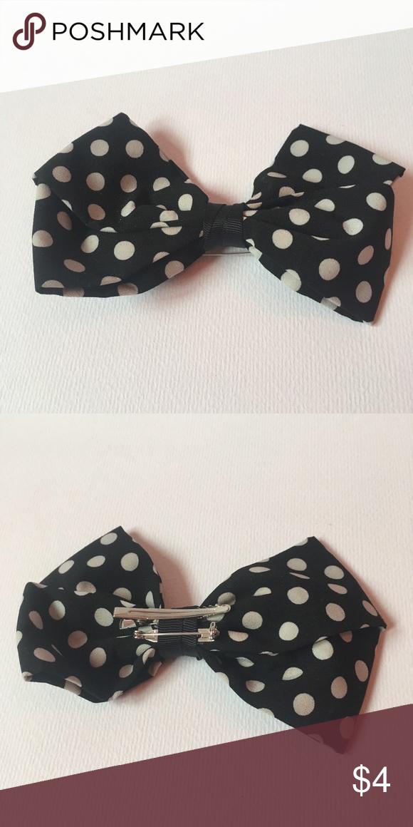 Hair Clip Bow Accessories Black White NewPolka-dots