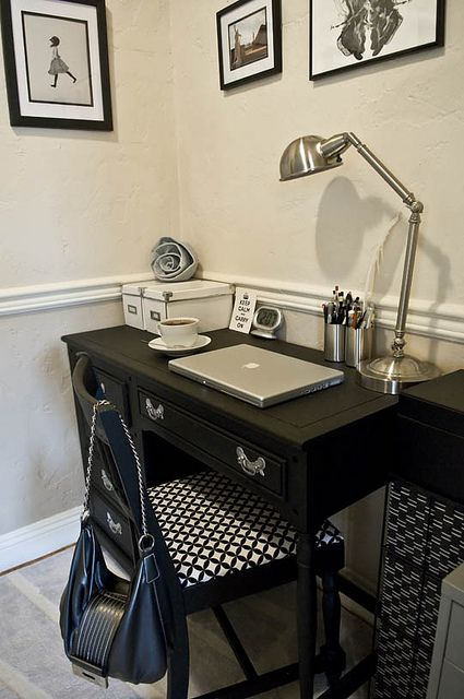 Another small space idea- and I already have a black desk very similar to this!