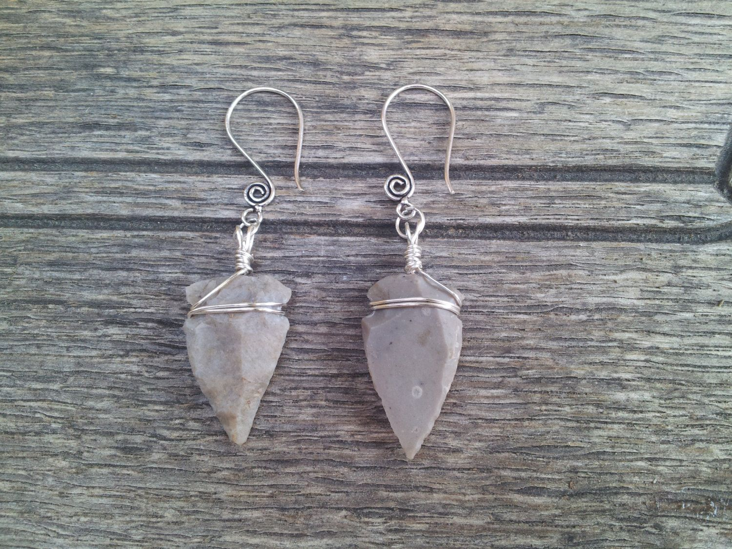 Wire Wrapped Arrowhead Earrings by TheDamselCollection on Etsy, $20.00