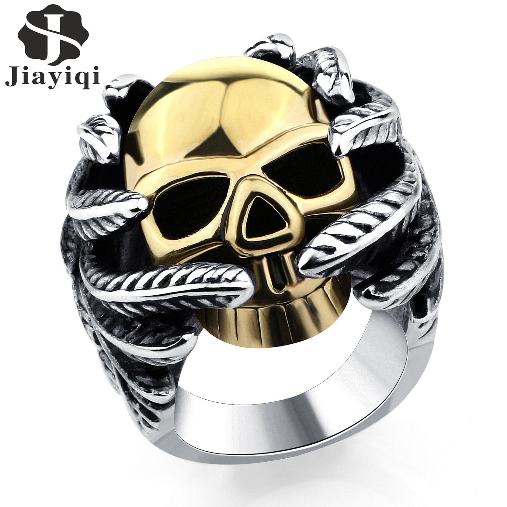 diamonds men beer rings vintage black gothic opener jewelry fashion tanzanite product size skull scar male stainless jaw steel bottle skeleton punk for