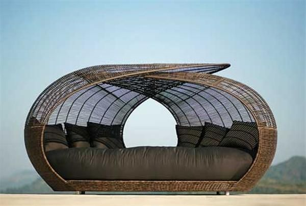 Gartenlounge rattan mit dach  moderne möbel stylische Liege aus Rattan geflochten | Outdoor ...