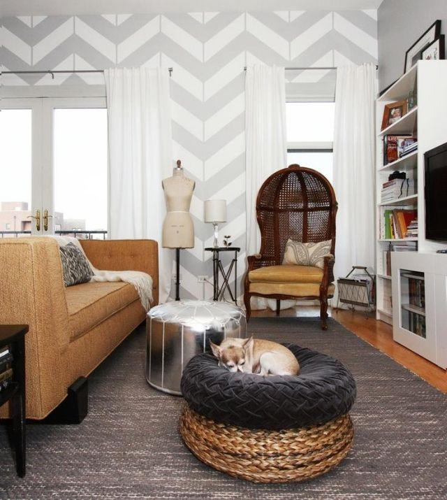 Wohnzimmer Wandgestaltung Grau Weiss Zick Zack Muster