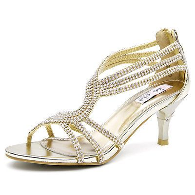 SheSole Womens gold low heels sandals dance evening strappy shoes ...