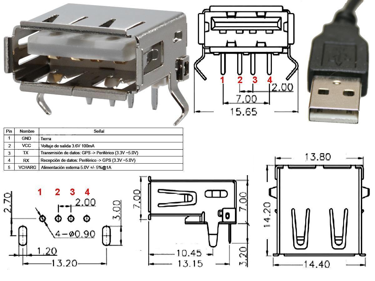 Circuito Usb : Conector usb a hembra pcb pin ingenieria pinterest