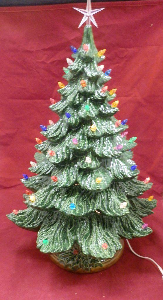 24 Handpainted Green Glazed Lighted Ceramic Christmas Tree Handcrafted Ceramic Christmas Trees Vintage Ceramic Christmas Tree Christmas Gift Decorations