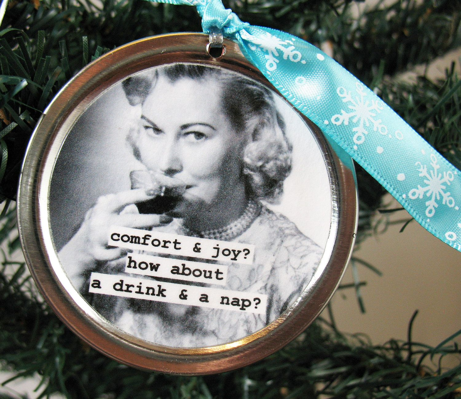 Funny Christmas Ornament. Comfort and Joy, Drink and a nap  Can Lid Ornament. $6.00, via Etsy.