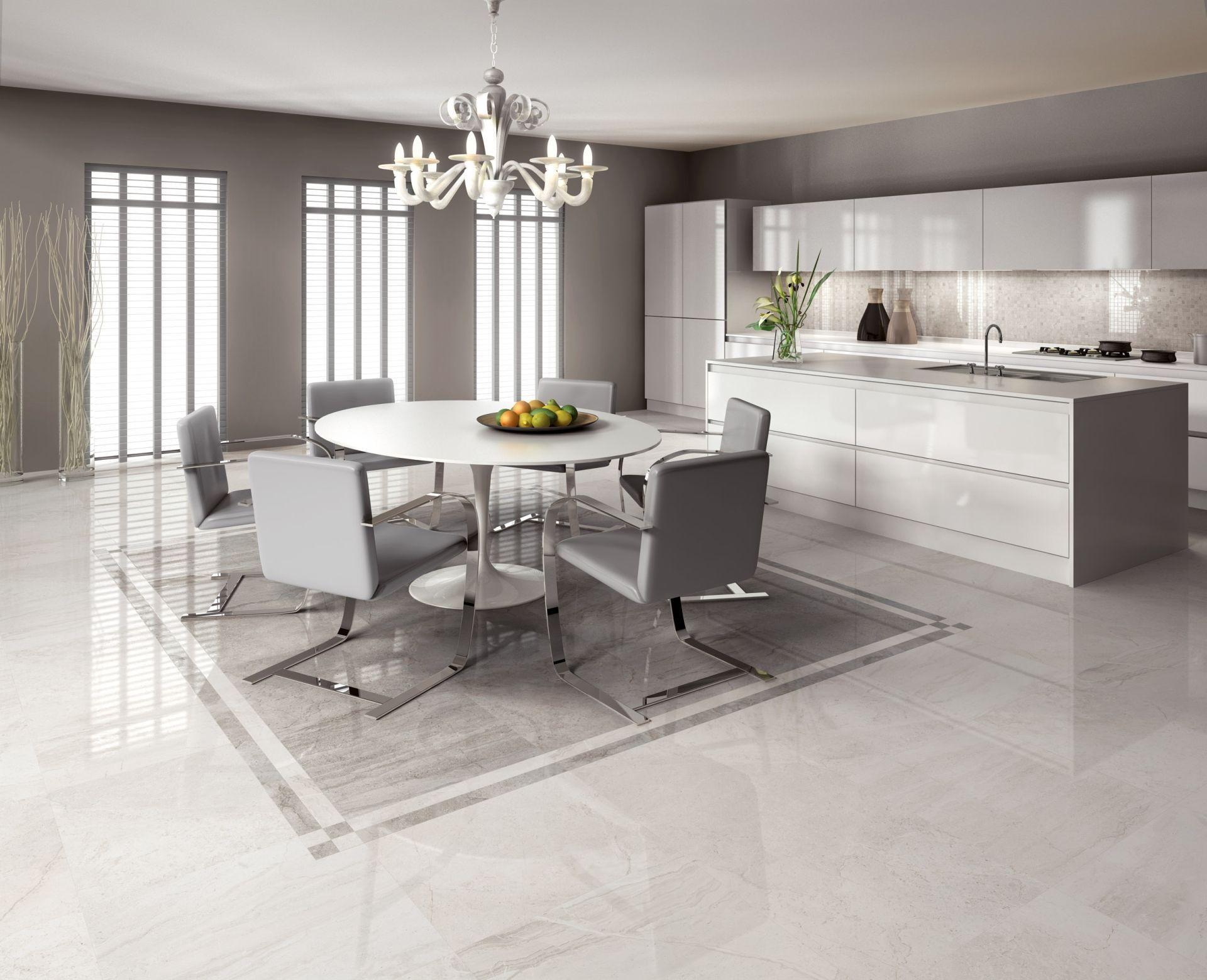 "luminescent living room#Ceramic of Italy #Supergress collection ""Gota""at  #Cersaie 2013 | Kitchen room design, Kitchen flooring, Kitchen interior"
