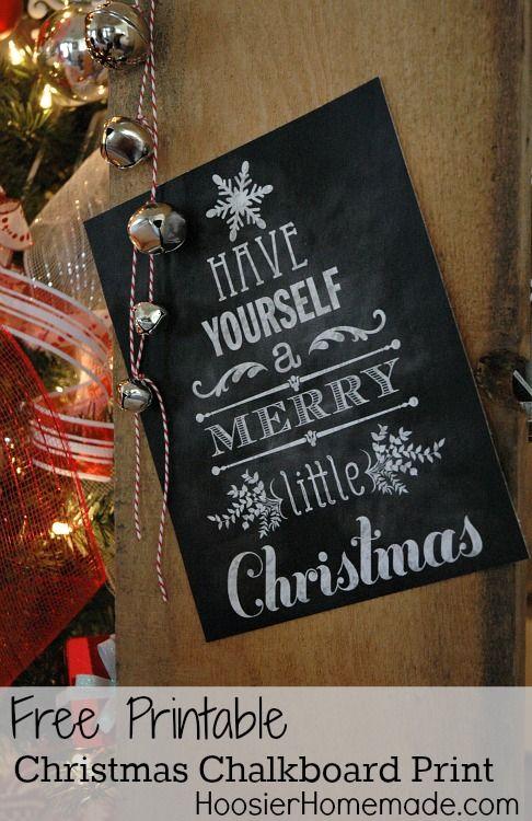 Christmas Chalkboard Print :: FREE Printable available at HoosierHomemade.com