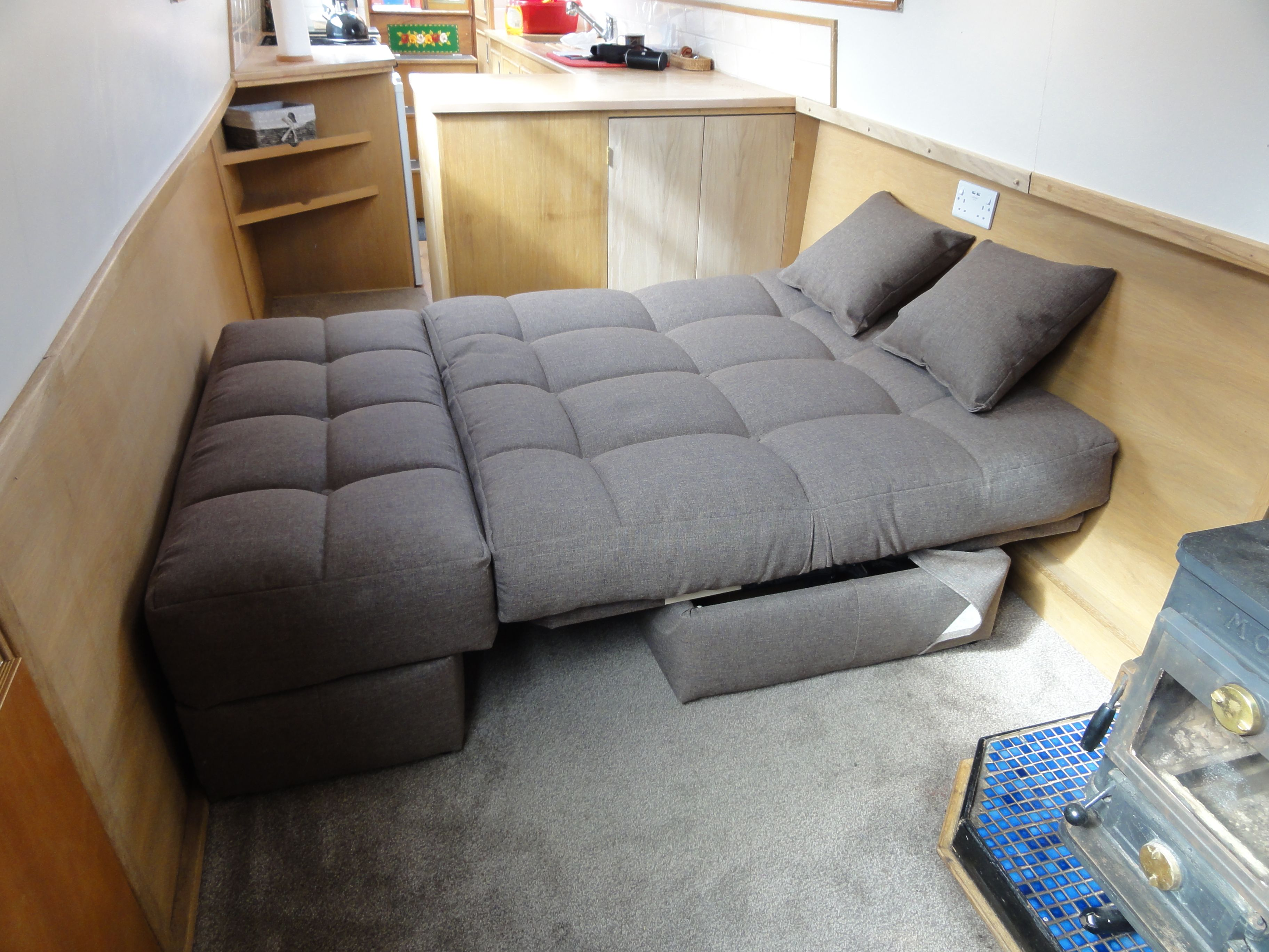 Hampton sofa bed in sleeping position, made to fit across