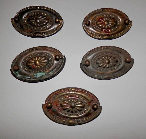 Vintage 2 inch drawer pulls oval hepplewhite antique brass ...