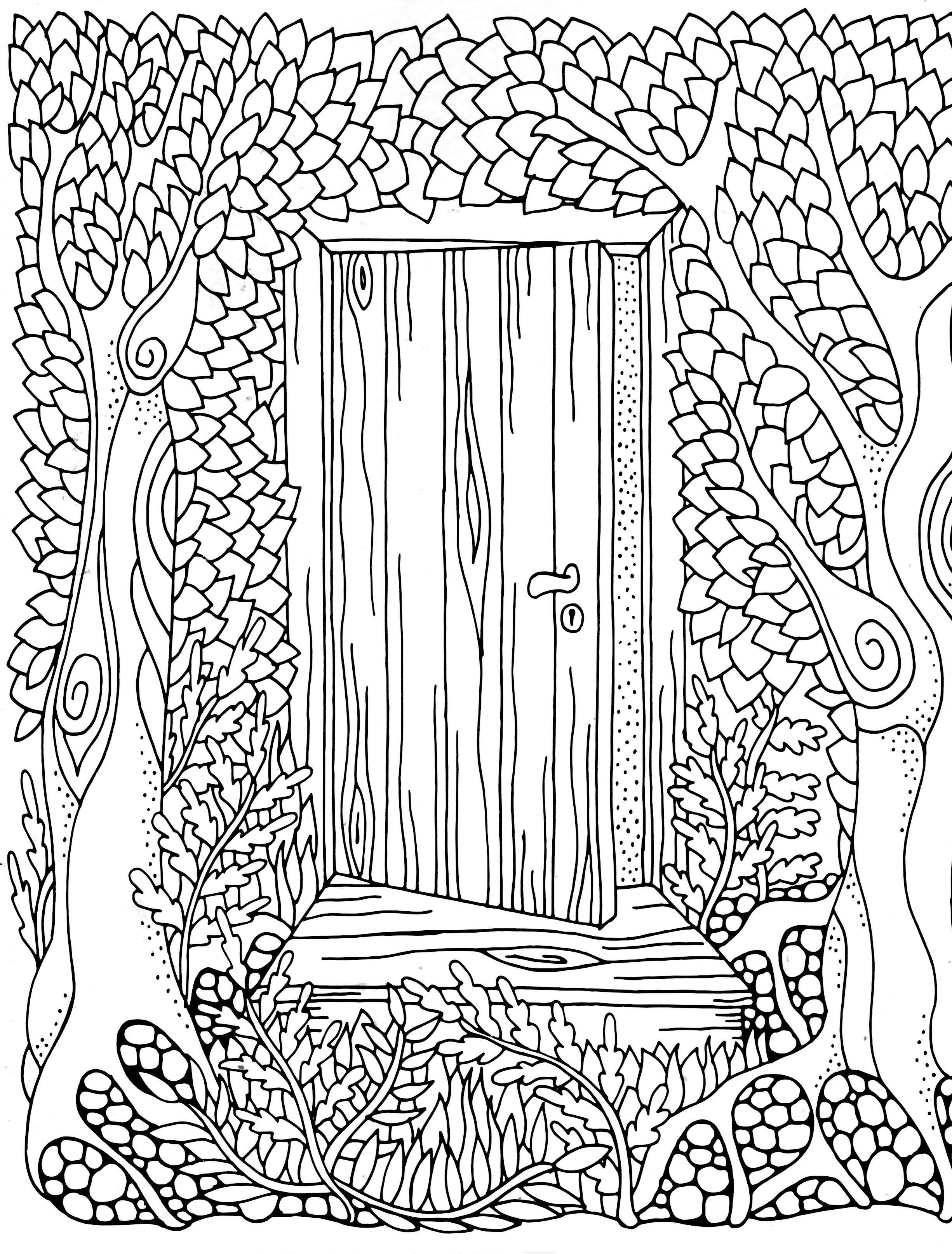 Forest door coloring page Adult Colouring Trees Leaves