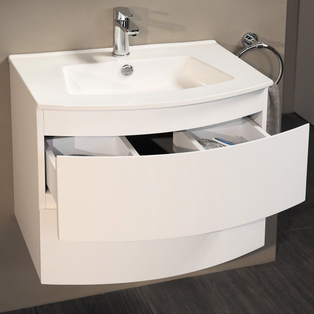 600 Vanity Unit With Basin For Bathroom Ensuite Cloakroom Luxury Wall Mounted Soft Closing White Bow Fr Classic Bathroom Furniture Drawer Unit Vanity Drawers [ 1000 x 1000 Pixel ]