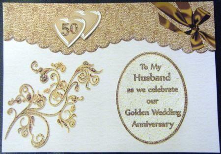 Husband wife golden wedding anniversary golden wedding