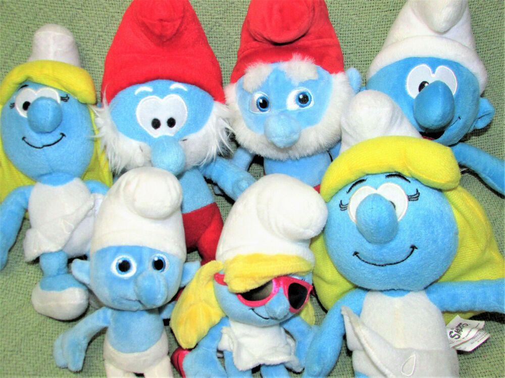 SMURF LOT Stuffed Animal Dolls SMURFETTE PAPA SMURF with