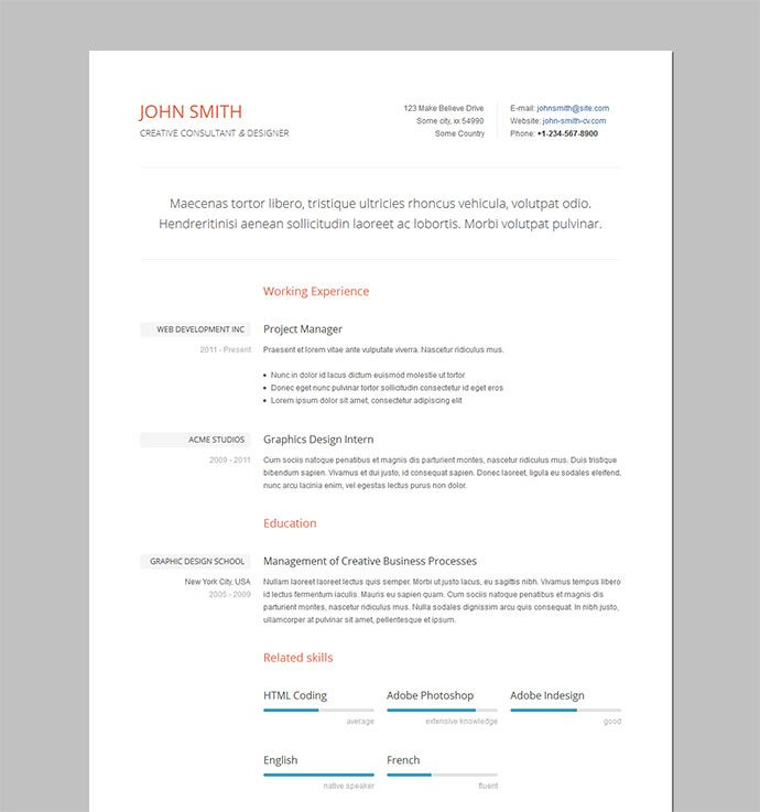 Formal Resume   CV Templates Pinterest Resume layout - free html resume templates