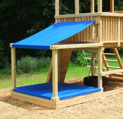 Large Sandbox With Sand And Shade Covers Attacted To A Cedar Swing
