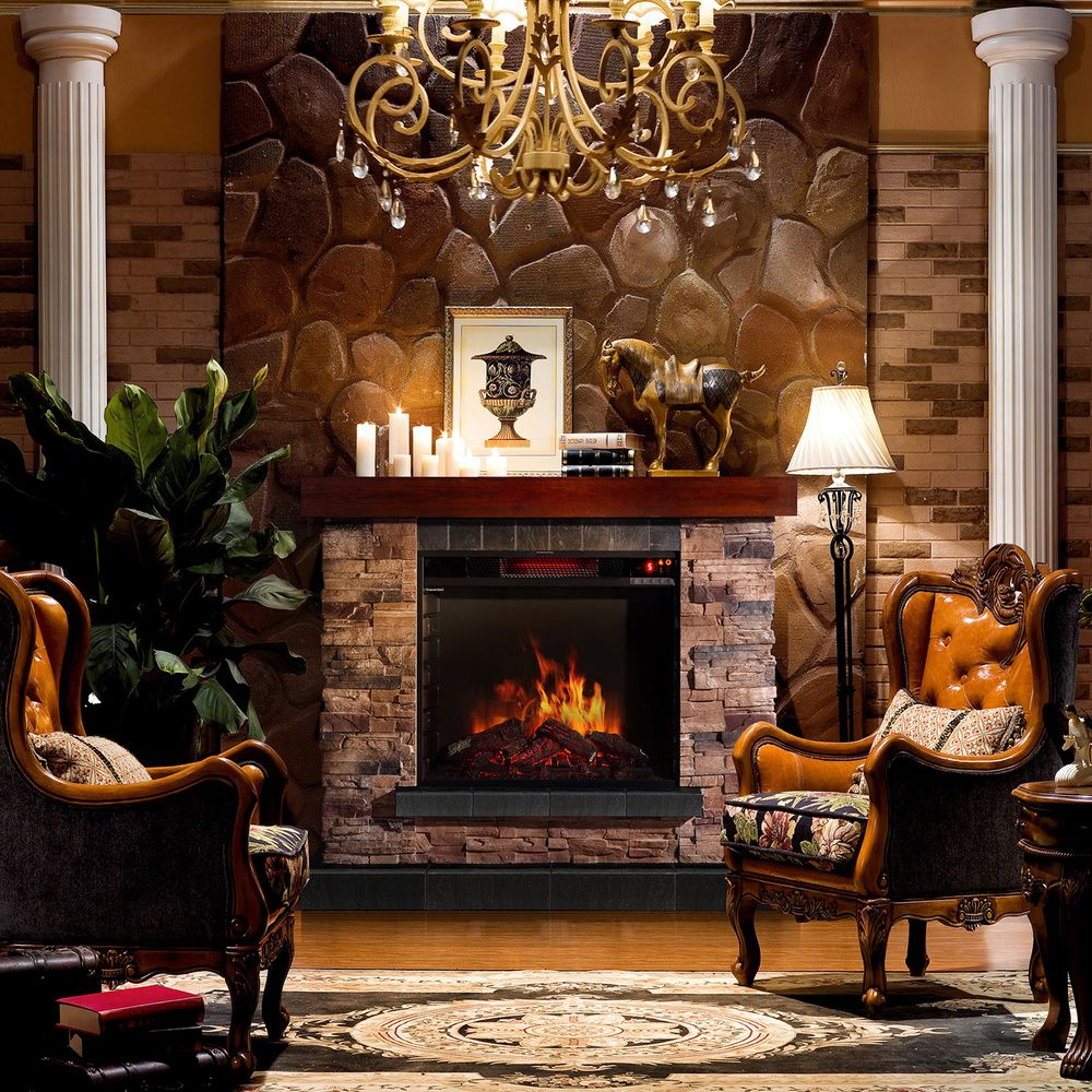 sirio stacked stone mantel electric flame fireplace overstock