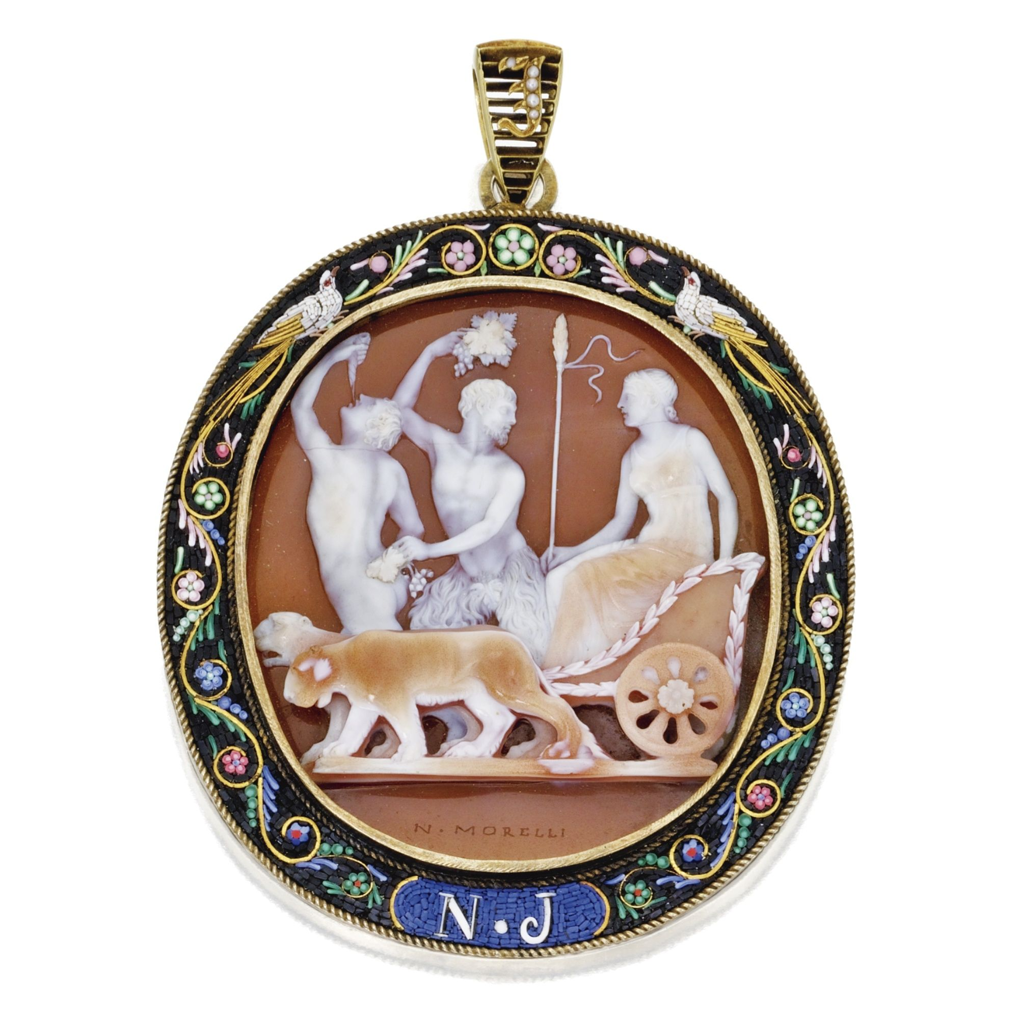 Silver-Gilt, Gold, Carved Shell Cameo, Micromosaic and Seed Pearl Pendant, Nicolo Morelli, Early 19th Century