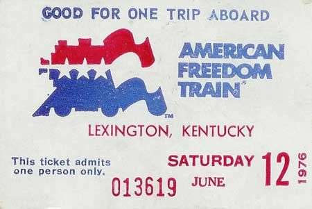 Ticket For The 1975 - 1976 American Freedom Train