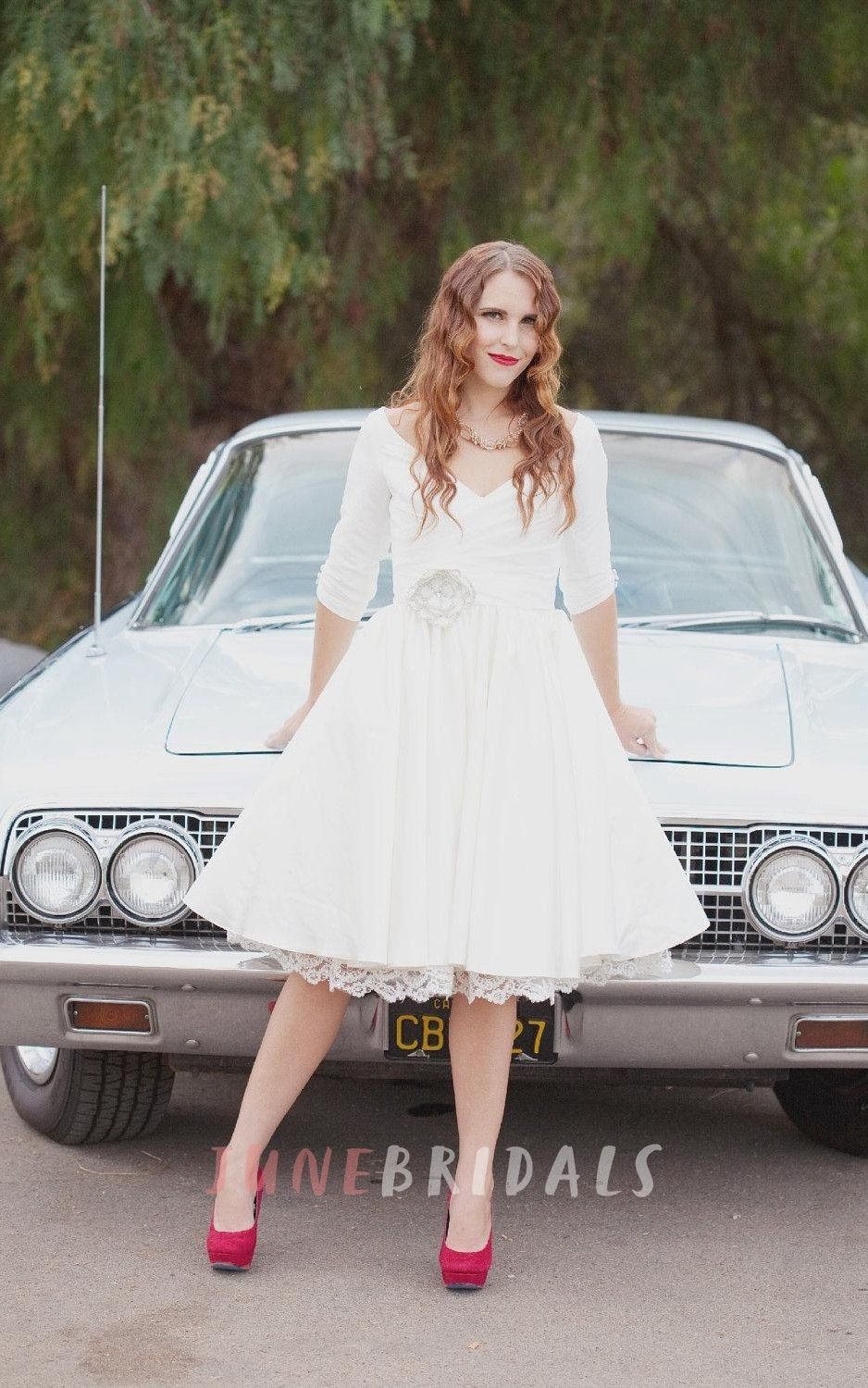 Short Wedding With Sleeves And Pockets Janie Jones Dress