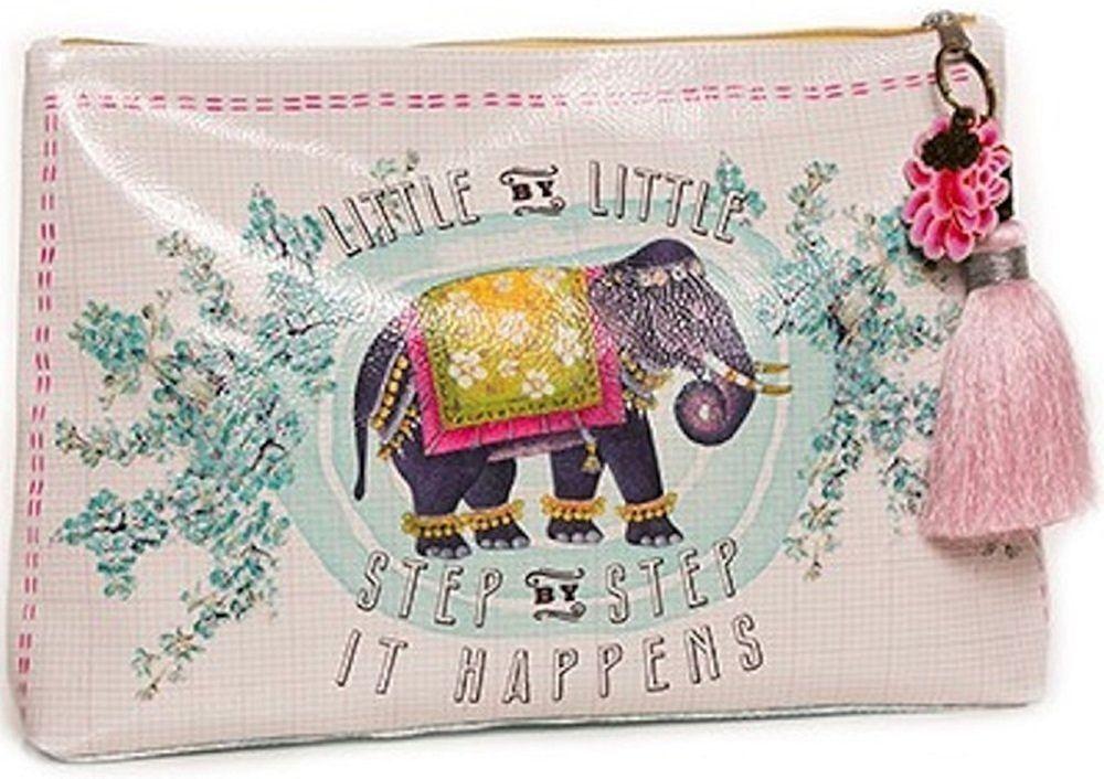 Papaya Art Little Elephant Bohemian Vegan Pink Travel Pouch Cosmetic Make-up Bag #PapayaArt
