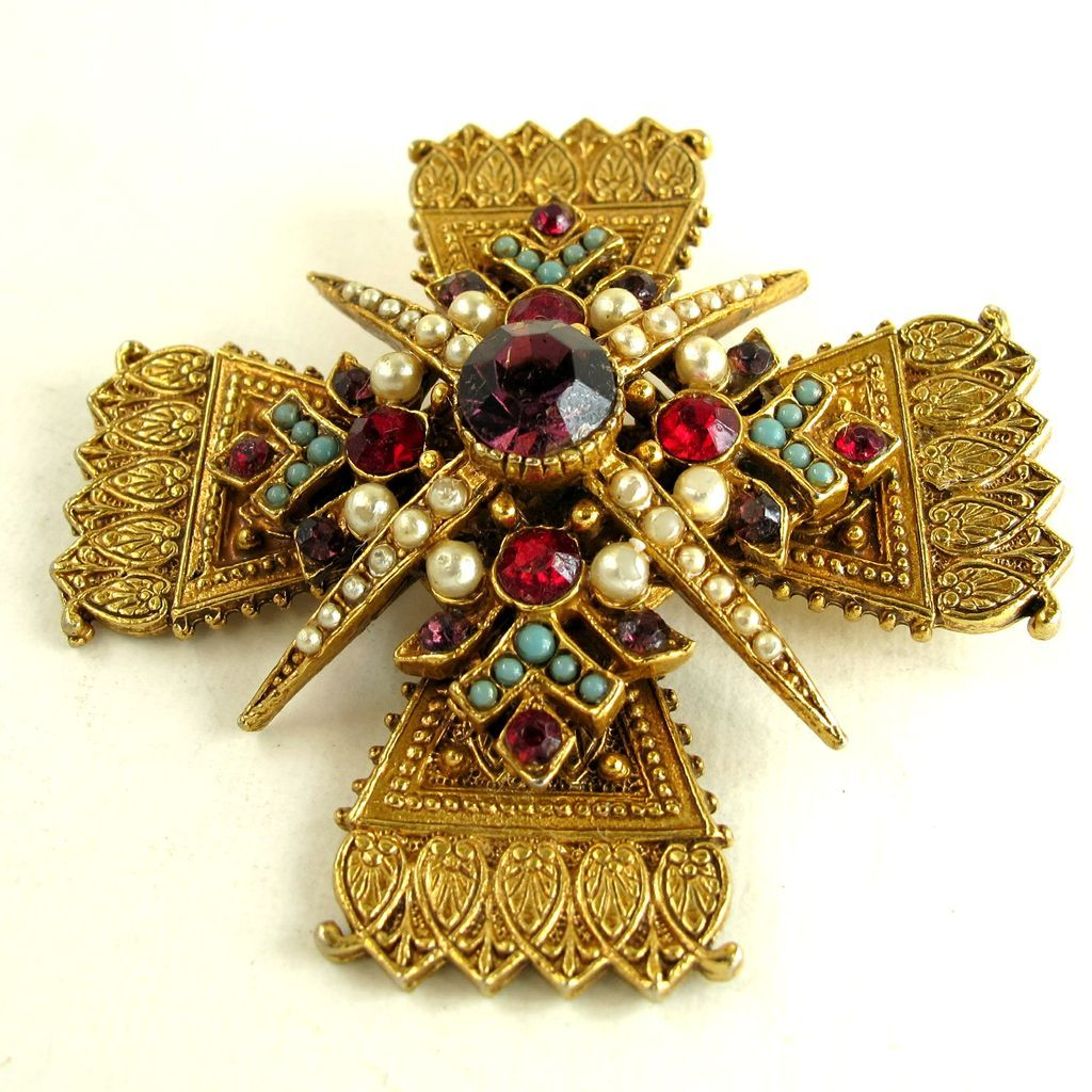 Vintage Signed Art Maltese Cross Pin Pendant Sold