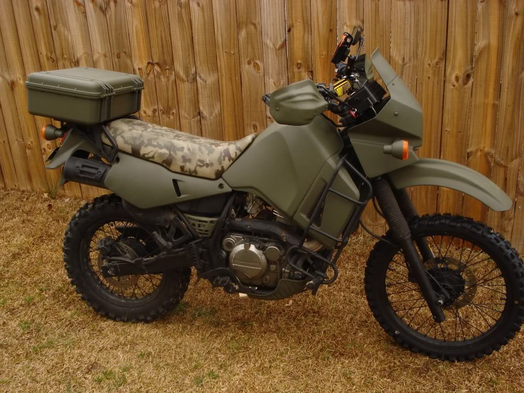 Kawasaki KLR650 Custom With Hard Shell Top Case And Flat Green Paint Job