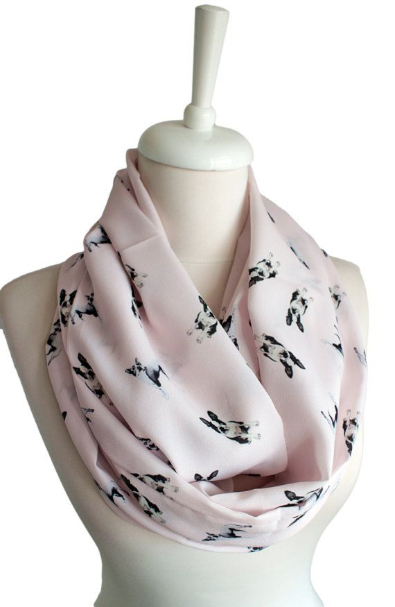 Boston Terrier Scarf Infinity Scarf Blush Color Dog by Aslidesign ...