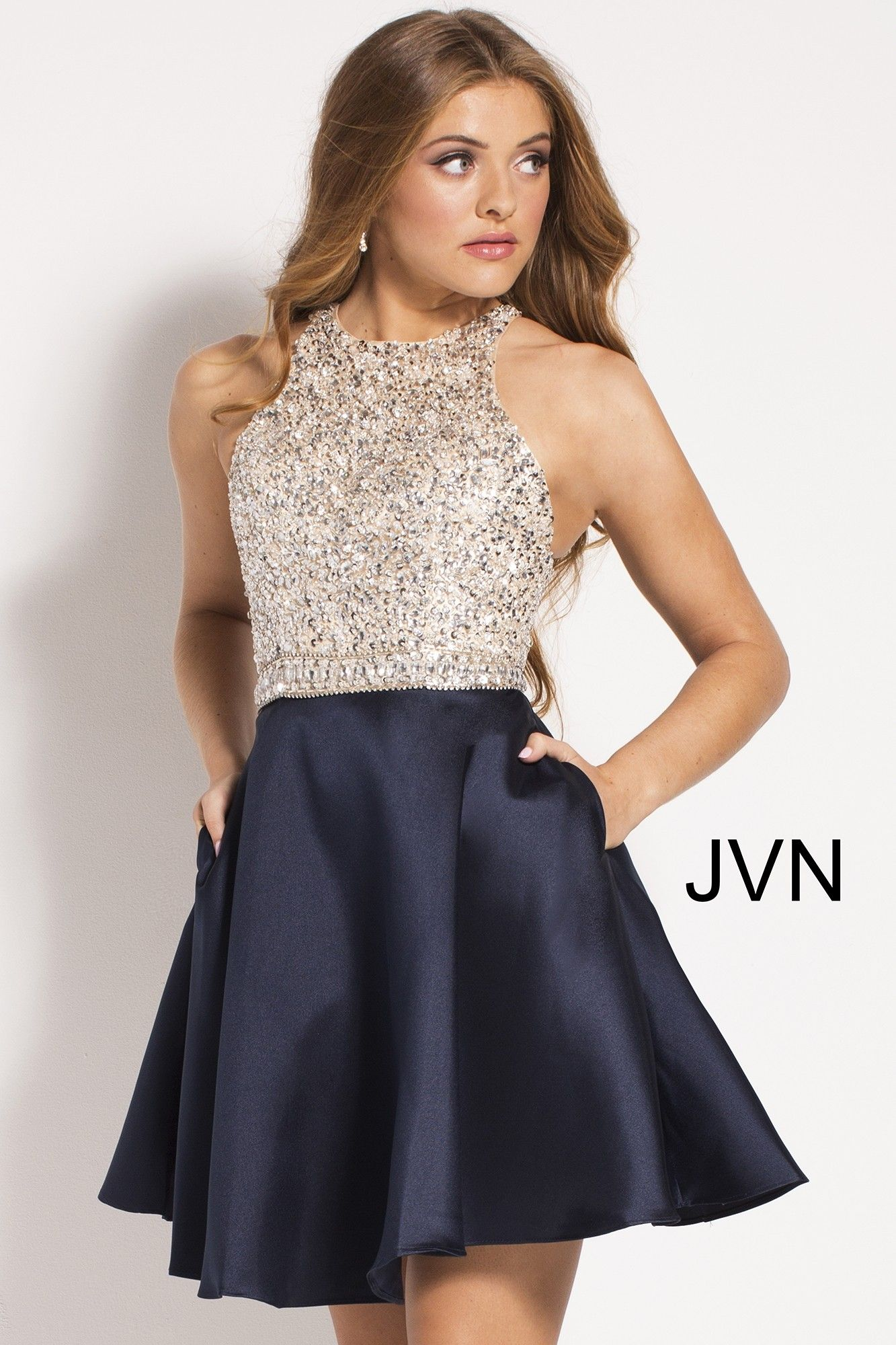 bdcff275310 JVN by Jovani JVN57782 Two-Tone Mini Dress with Embellishment in ...