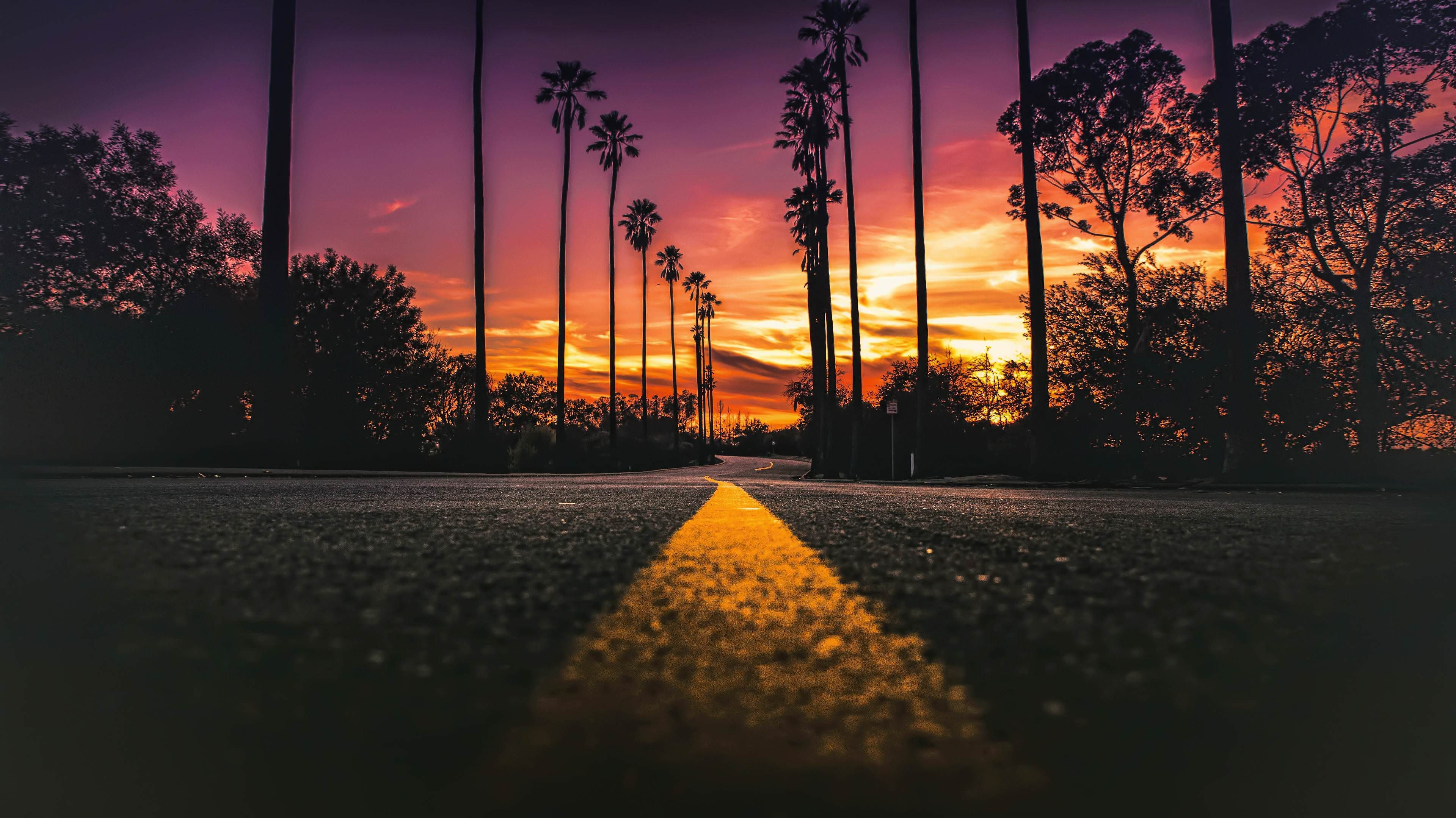 Street Of Los Angeles 3840x2160 Sunset Wallpaper California Wallpaper Sunset