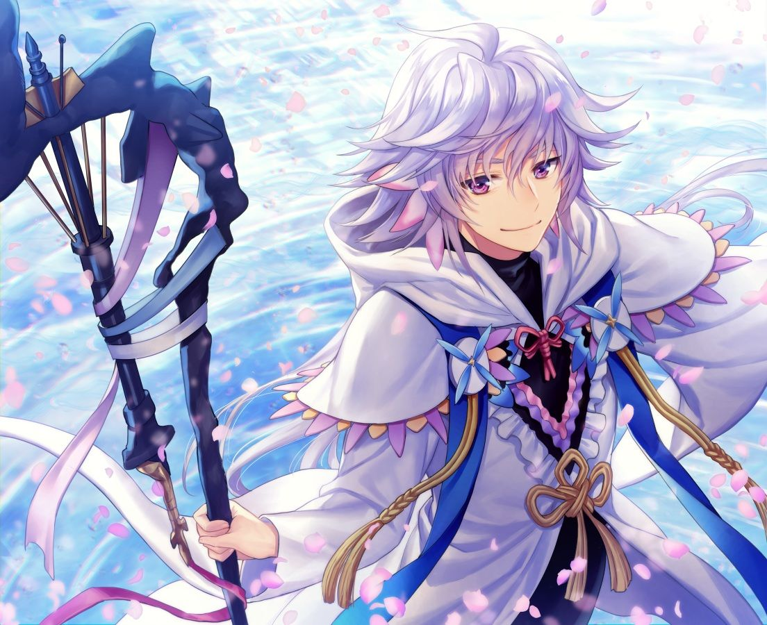All Male Fate Grand Order Fate Series Hoodie Long Hair Male Merlin Fate Grand Order Petals Purple Eyes Ribbons Staff White Hai Merlin Fate Anime Characters