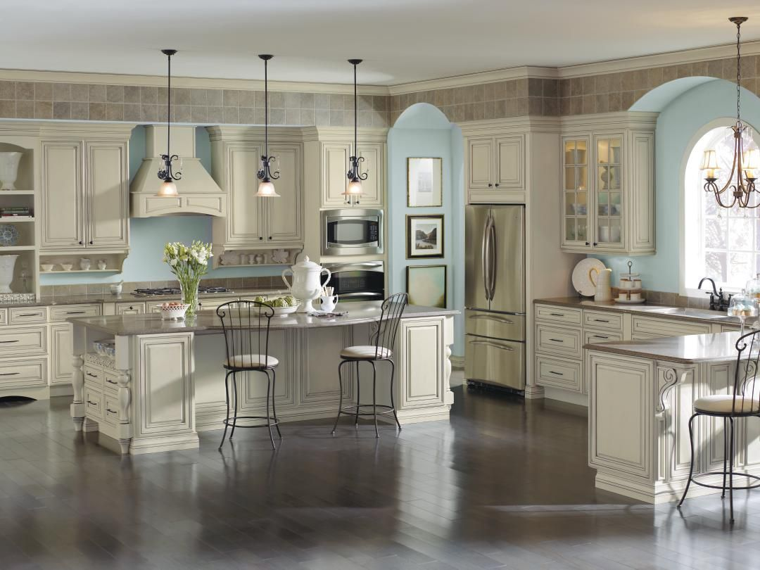 Image Result For Cream And Grey Kitchen With Dark Floors Glazed Kitchen Cabinets Traditional Kitchen Design French Country Kitchens