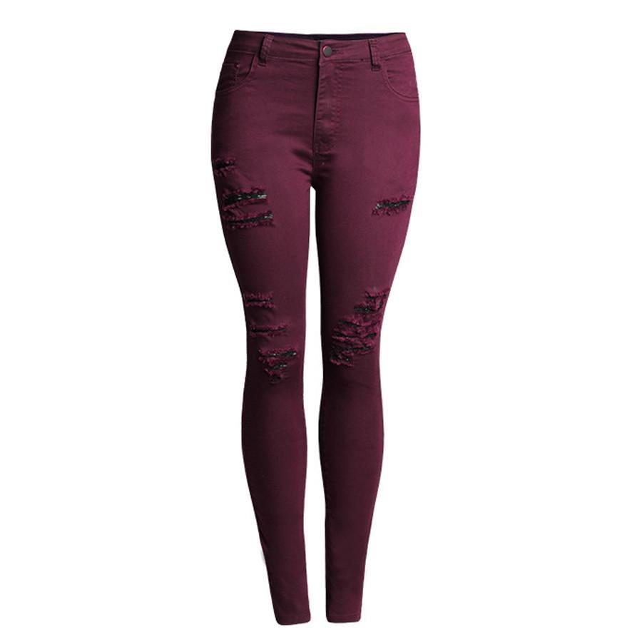 43d481745fb Womens Skinny Jeans High Waist Slim Pencil Pants Hole Denim