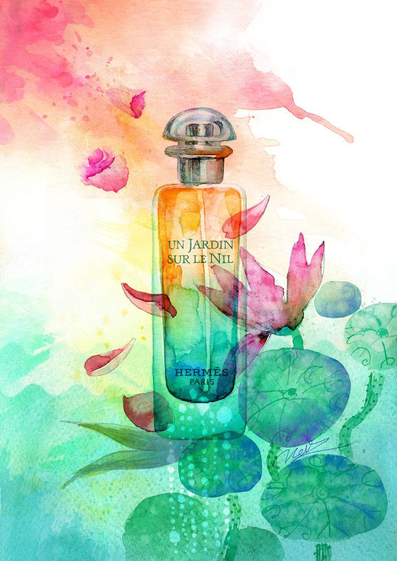 Mini Art Print 5 x 7 Hermes Perfume Watercolor Illustration Un Jardin sur  le Nil 44c01b5431