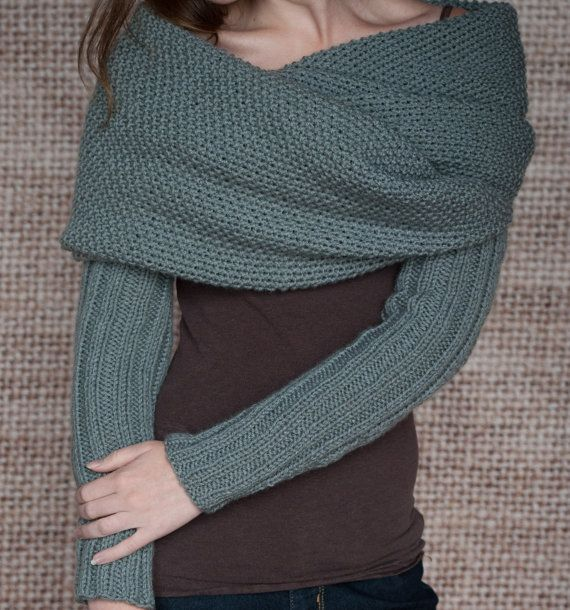 Knitting Pattern Sleeve Scarf Sweater Wrap By Lakehouseknits