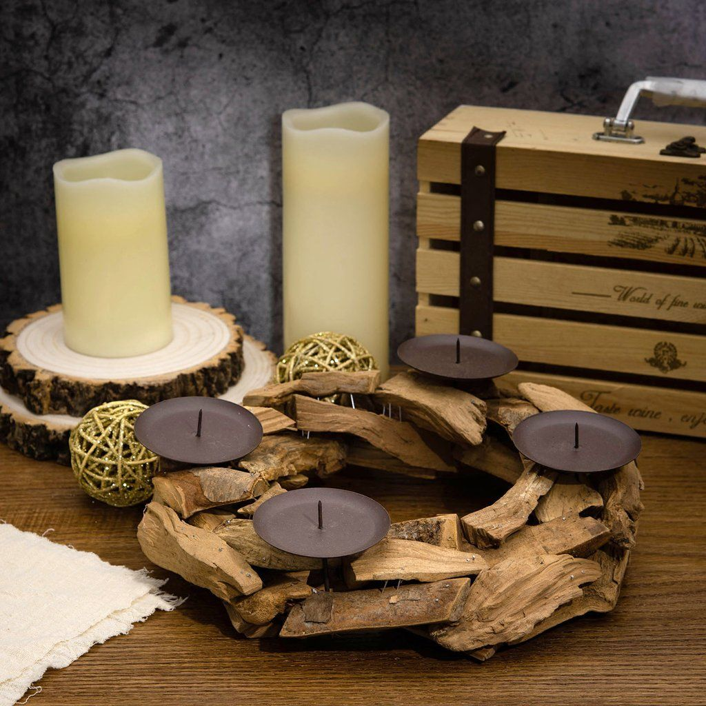 12 Advent Wreath Wooden Candle Holders With 4 Metal Candle Plate Rustic Candle Holders Rustic Candles Rustic Candle Holders Wooden Candles