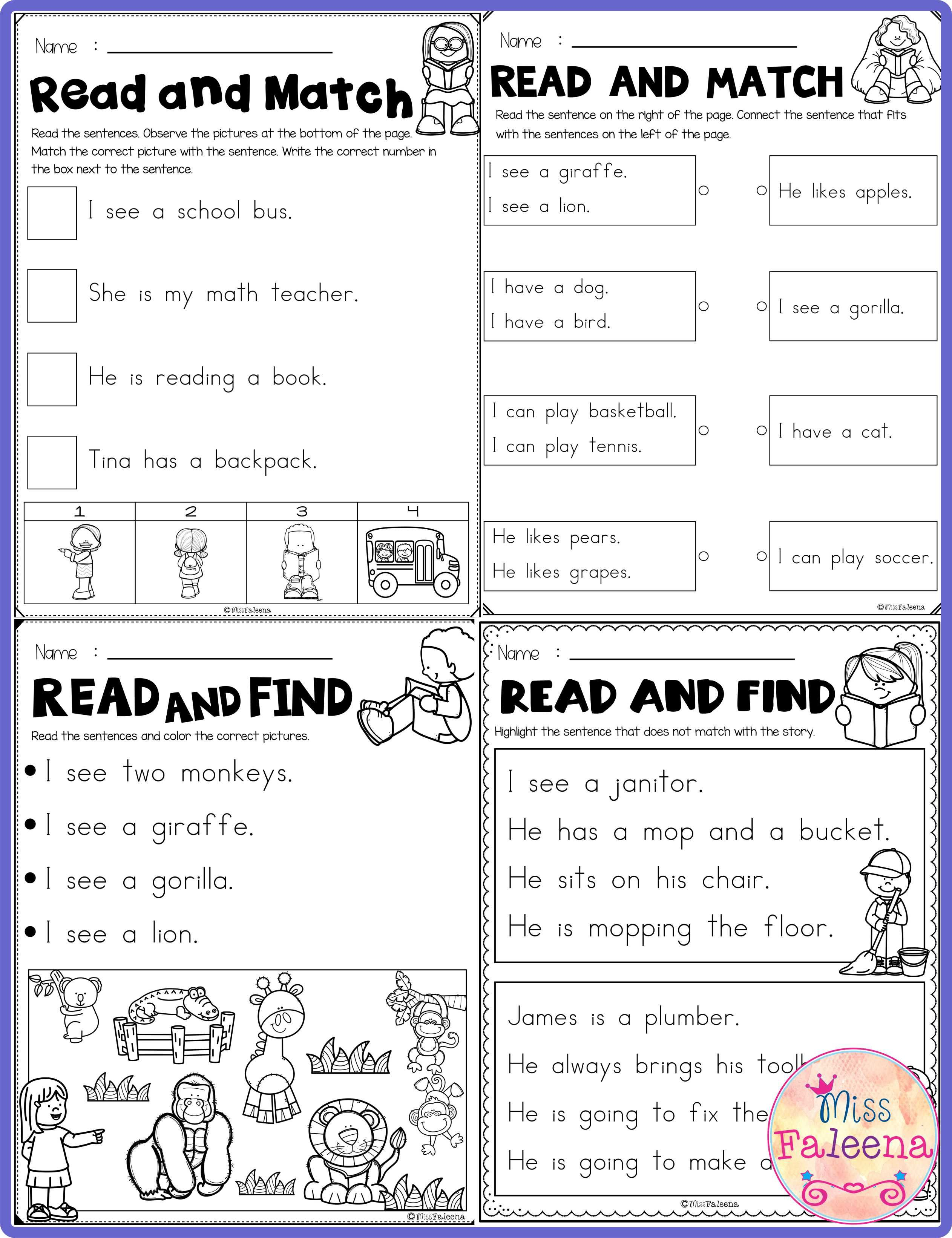 Free Reading Activities Contains 8 Pages Of Reading Activities Worksheets This Product Is Suitable Fo Reading Activities First Grade Worksheets Writing Center [ 3284 x 2525 Pixel ]
