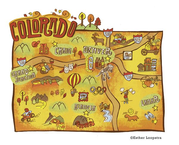 Colorado Map series published in Denver Post on Behance – Colorado Tourist Map