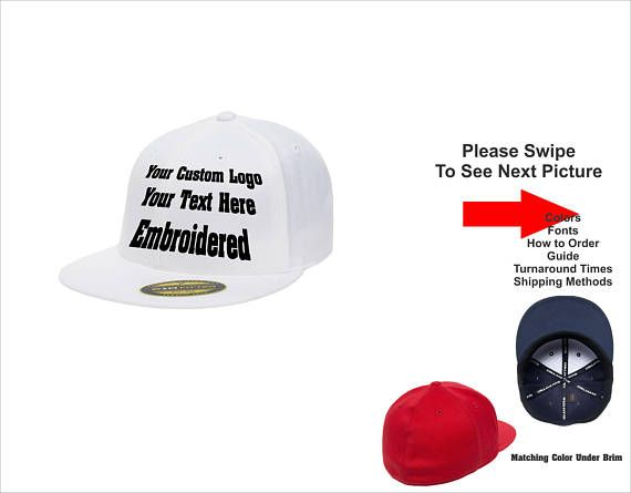 e786b8f2e3d Custom Logo Hat . Custom Text Hat. 210 Flatbill Flexfit Hat. Customize your  own hat. your words. your logo.