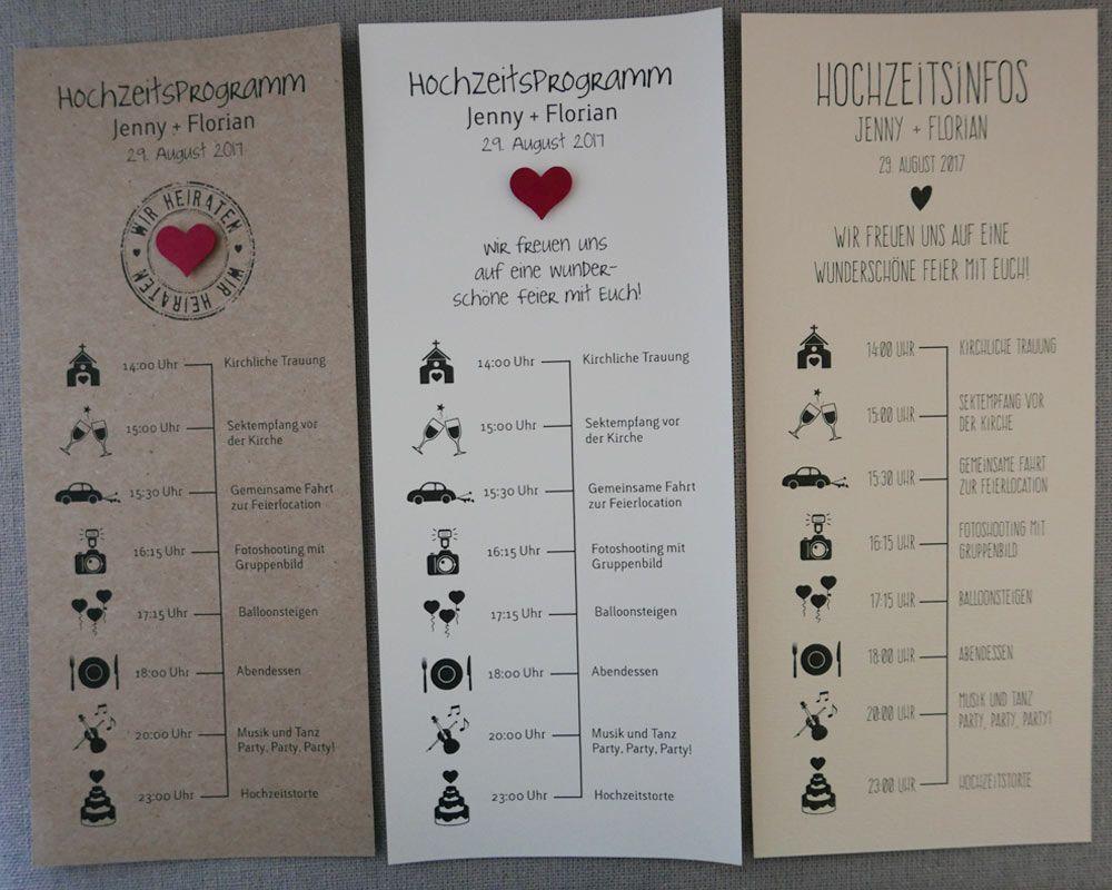 Hochzeitsprogramm / Zeitplan Für Ihre Hochzeit / Im DIN Lang Format /  Vorderseite