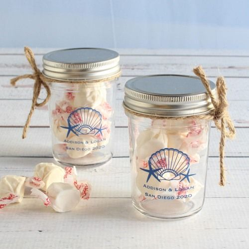 Send Your Guests Home With Personalized Jars Of Favorite Salt Water Taffy For The Perfect Wedding Favor
