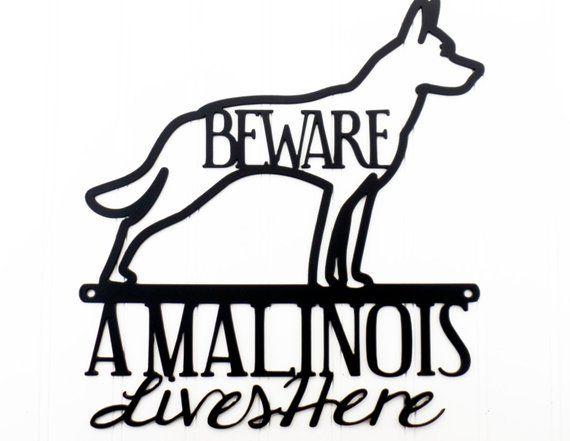 Belgian Malinois Lives Here Metal Sign Black 11 25x12 Malinois
