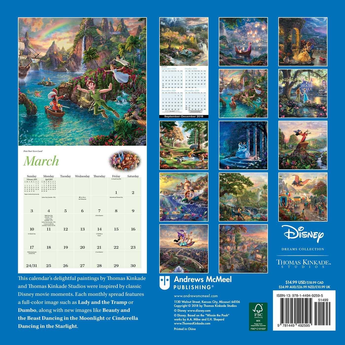 Disney Discovery Thomas Kinkade 2019 Disney Calendar
