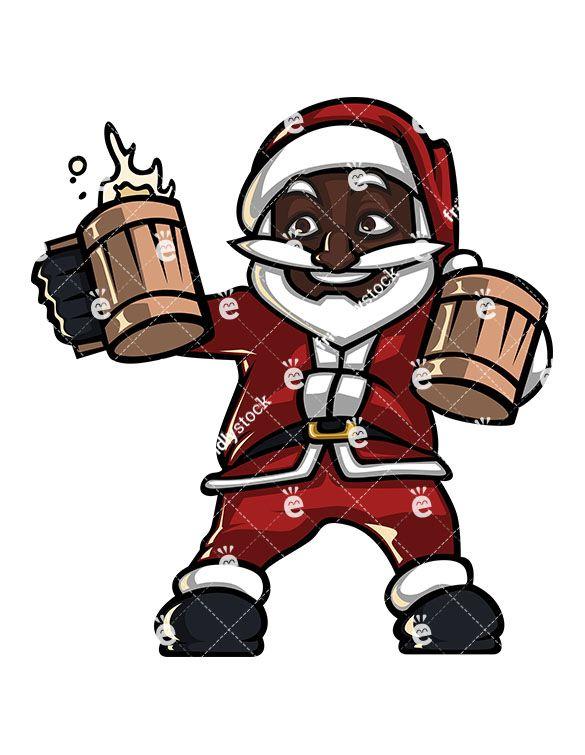 Black Santa Claus Holding Beer Cartoon Clipart Vector Friendlystock Beer Cartoon Cartoon Clip Art Santa Cartoon
