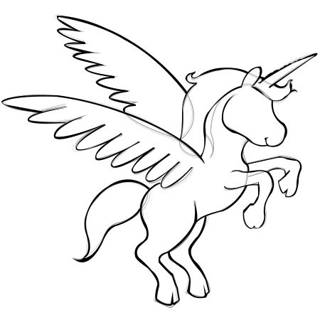 How to draw a unicorn head outline