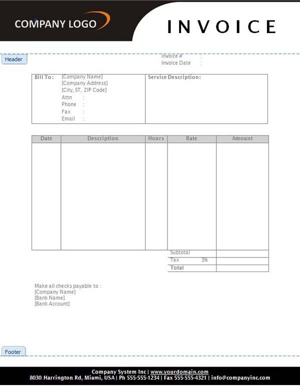 Hourly Invoice Template Hourly Rate Invoice Templates Free - free invoice template word