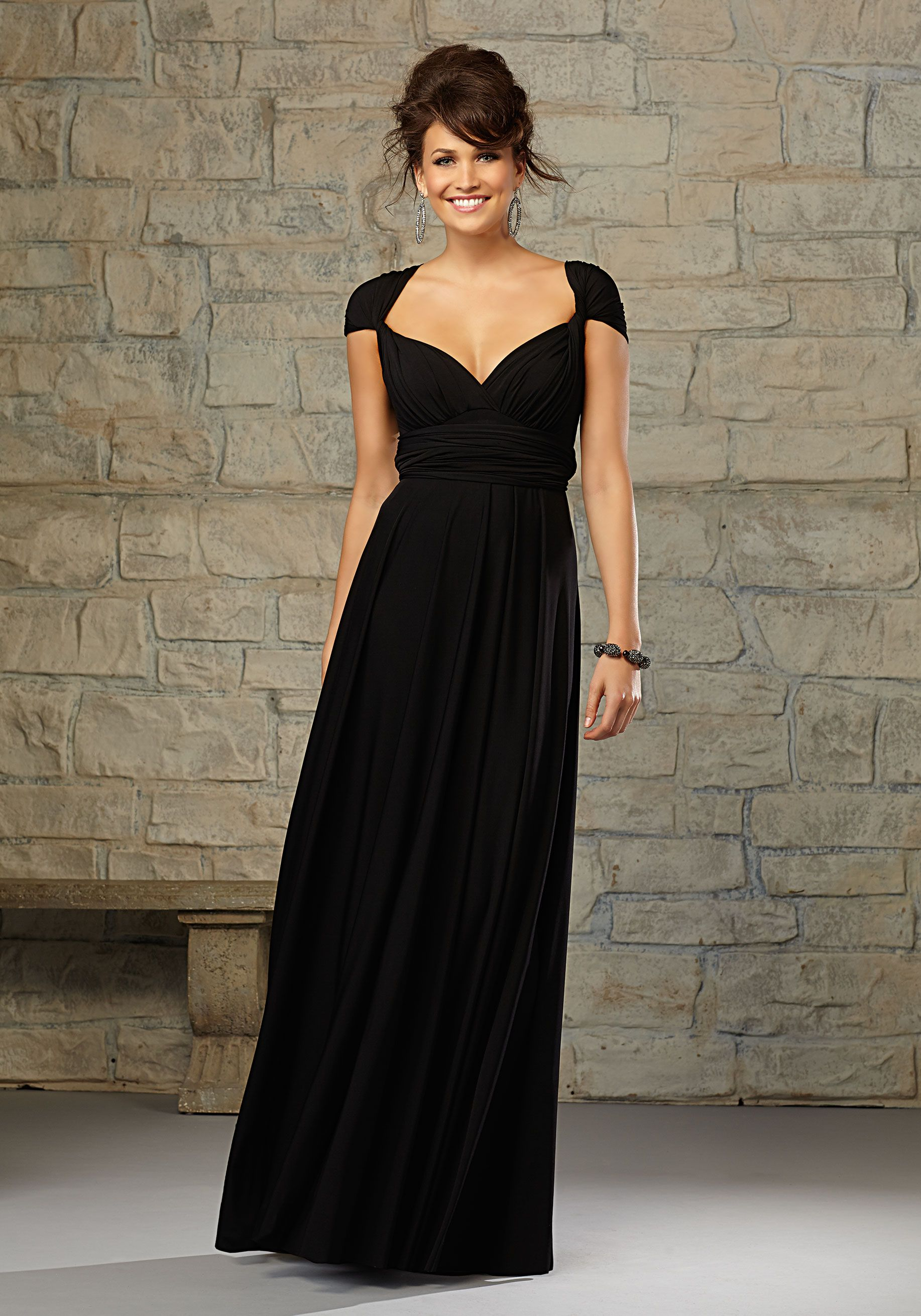 Jersey bridesmaid dress with adaptable straps designed by madeline jersey bridesmaid dress with adaptable straps designed by madeline gardner shown in black ombrellifo Gallery